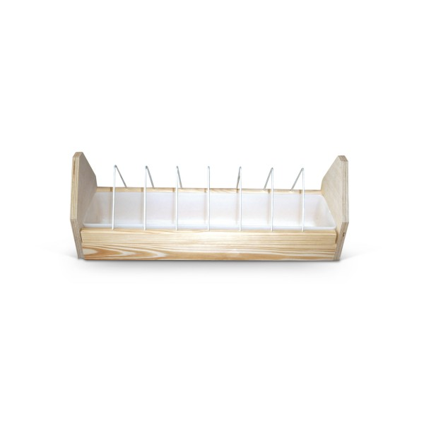 Wooden feeder with divider and plastic bowl